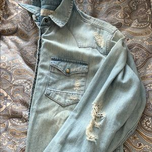 All Saints distressed denim shirt. Worn once.